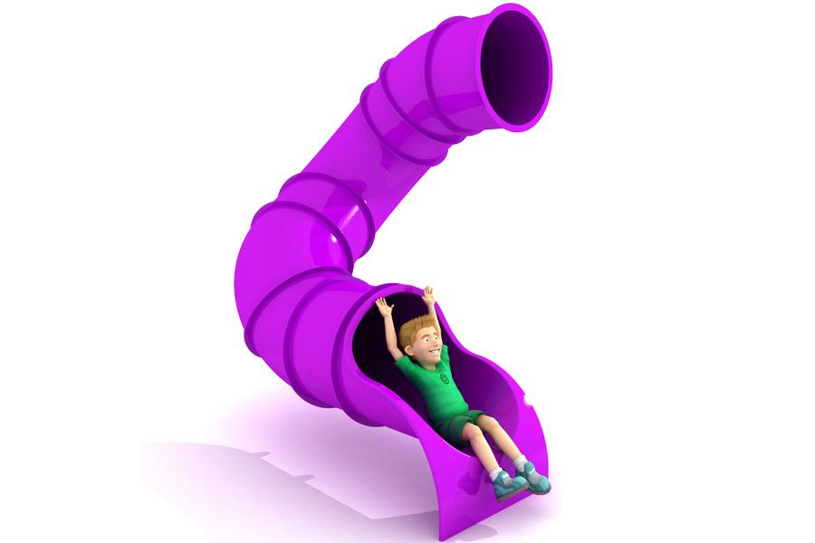 180° 2m Deck Spiral Tube Slide