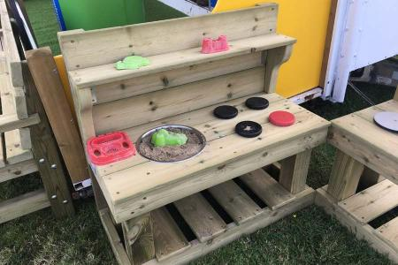 Mud Kitchen with Shelf, Hob, Mixing Bowl, Under Counter Storage