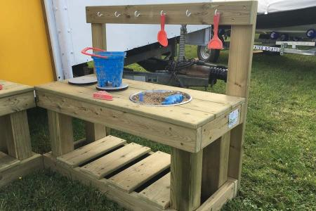 Mud Kitchen with Hanging Hooks, Under Counter Storage, Mixing Bowl & Hob
